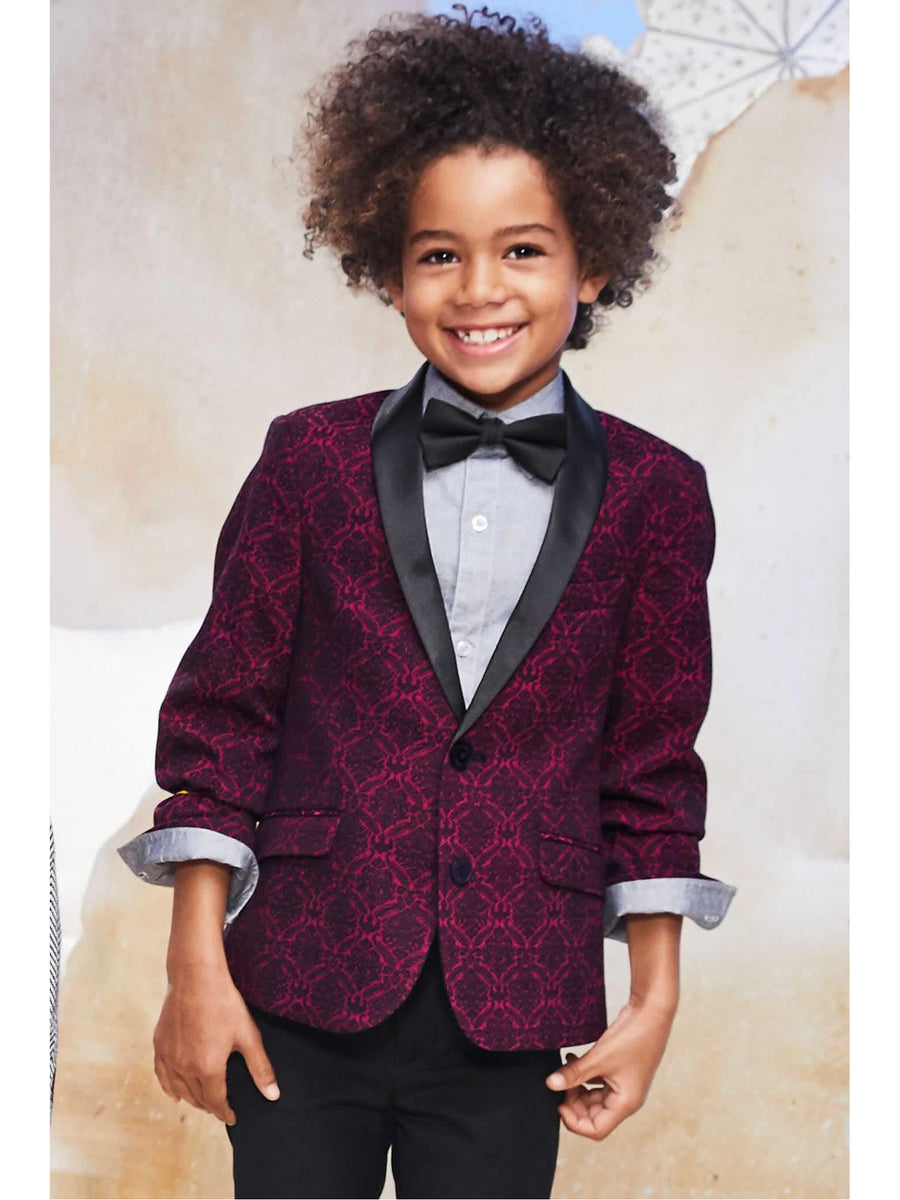 Boys Red Brocade Jacket