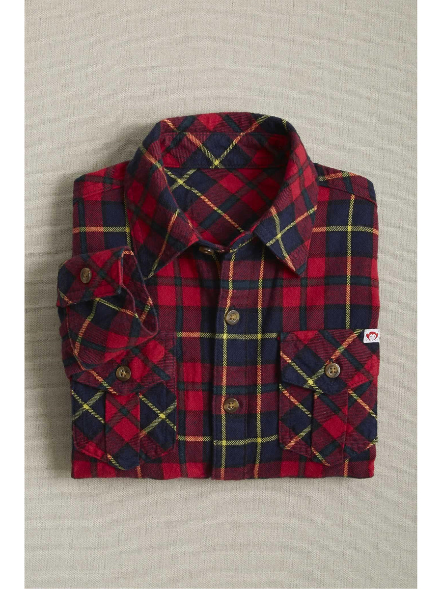 Boys Red Plaid Flannel Shirt