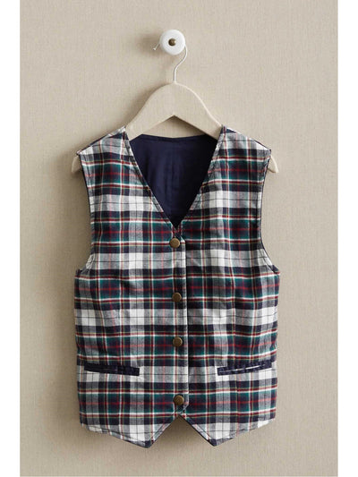 Boys Reversible Faux-Suede & Plaid Vest