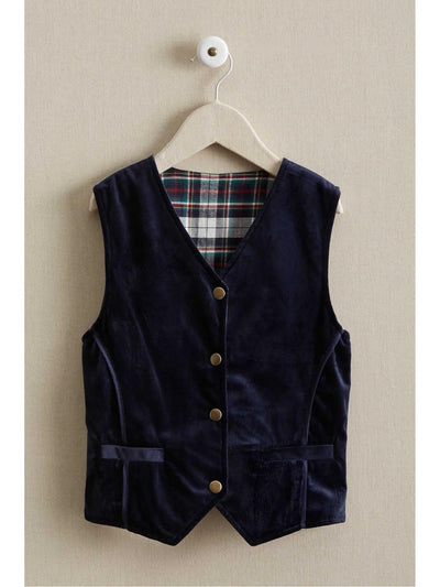 Boys Reversible Faux-Suede & Plaid Vest  blu alt2