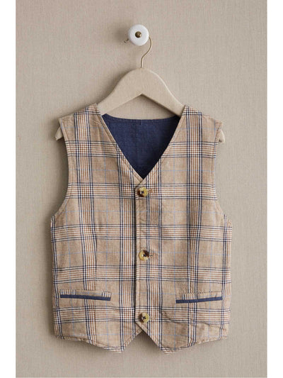 Boys Reversible Rustic Plaid Vest