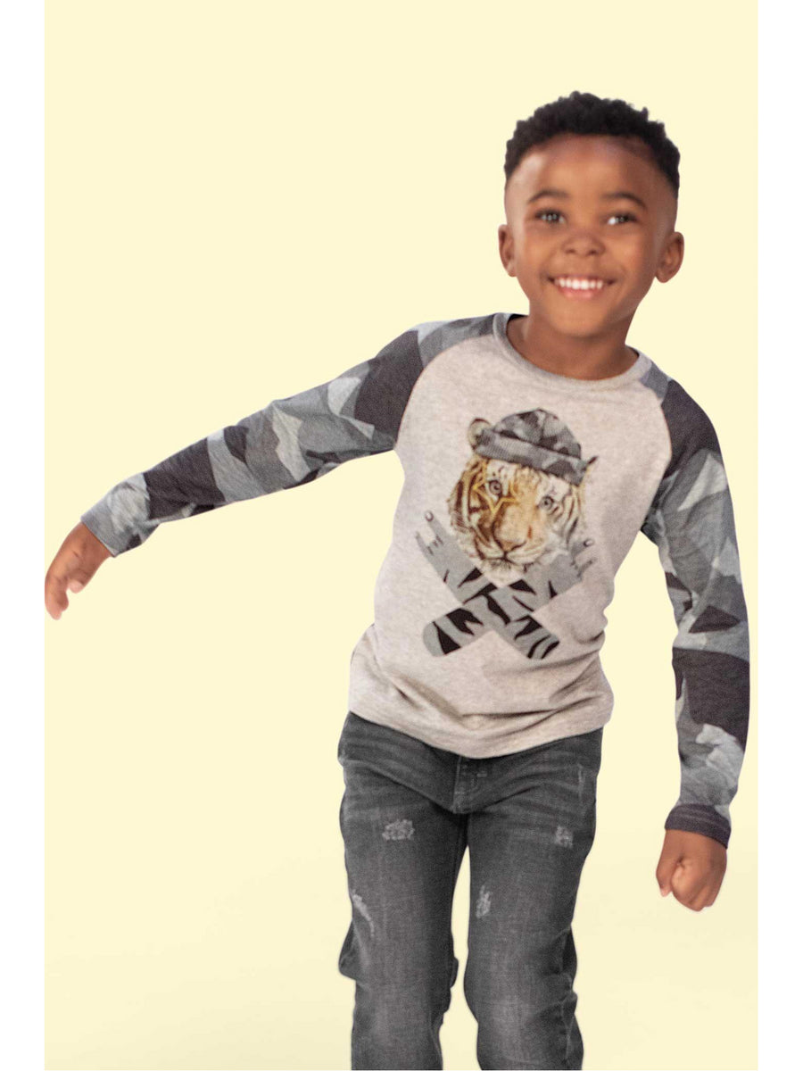 Boys Rock On Tiger Long-Sleeve Tee