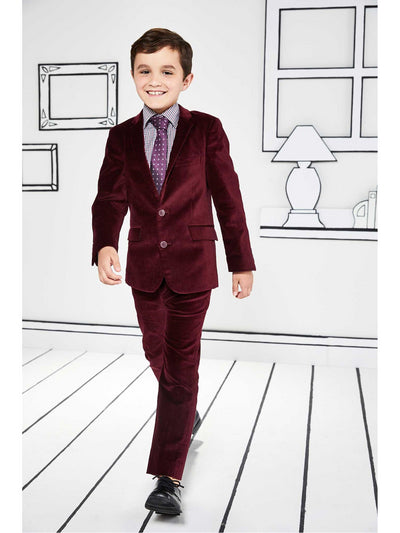 Boys Royal Red Velvet Suit