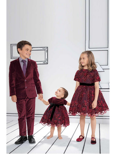 Boys Royal Red Velvet Suit  red alt1