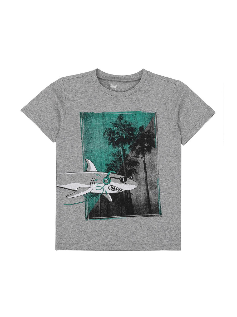 Boys Shark Headphones Tee