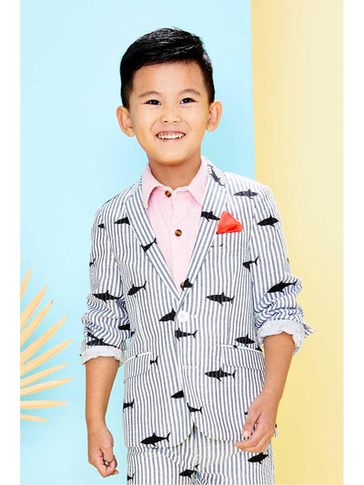 Boys Shark Print Seersucker Blazer