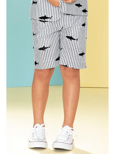 Boys Shark Print Seersucker Shorts