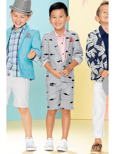 Boys Shark Print Seersucker Shorts  gwhts alt1