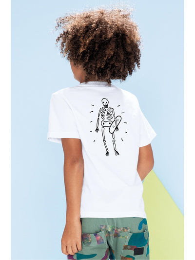 Boys Skeleton on Board Tee  whi alt2