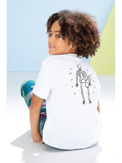 Boys Skeleton on Board Tee  whi alt3