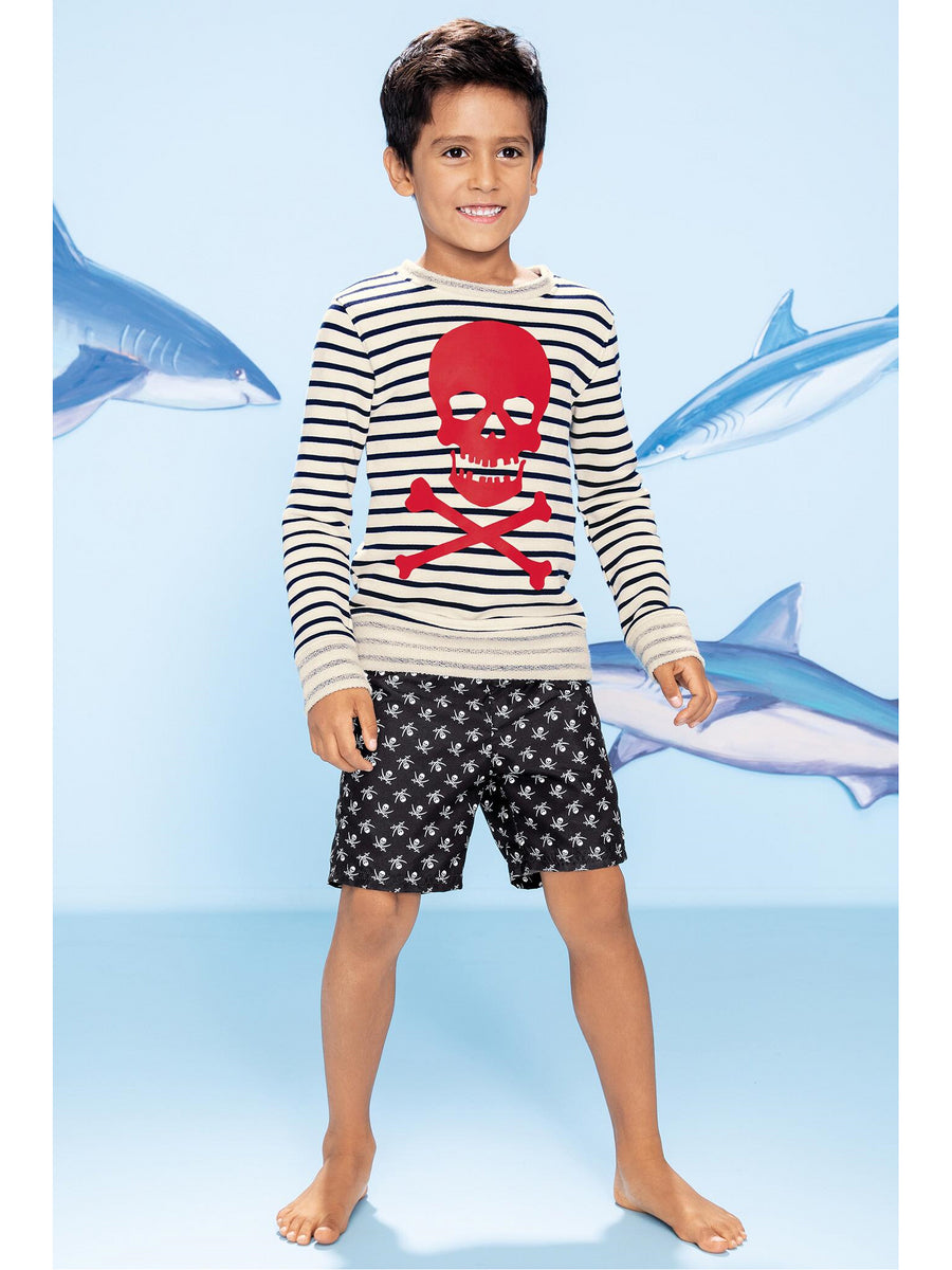 Boys Skull & Crossed Swords Swim Trunks
