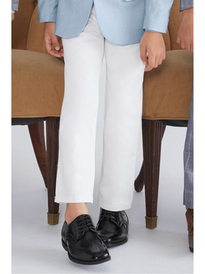 Boys Slim Fit White Twill Pants  wht 1