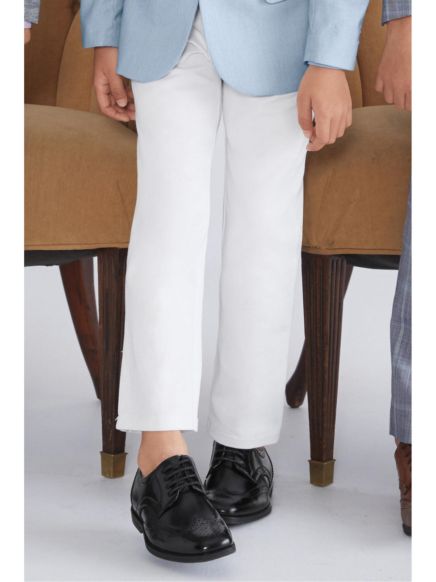 Boys Slim Fit White Twill Pants