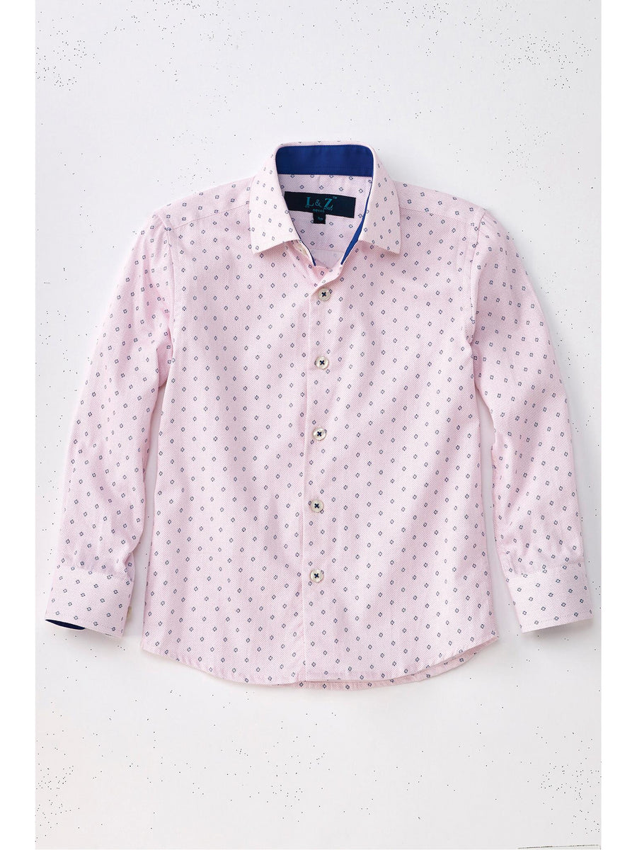 Boys Starburst Print Easy Care Dress Shirt