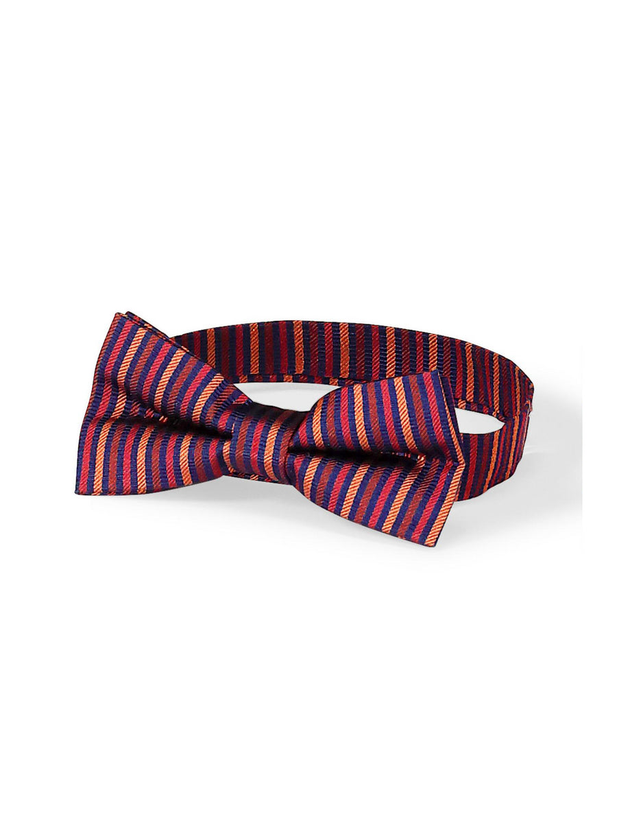 Boys Burgundy Striped Bow Tie