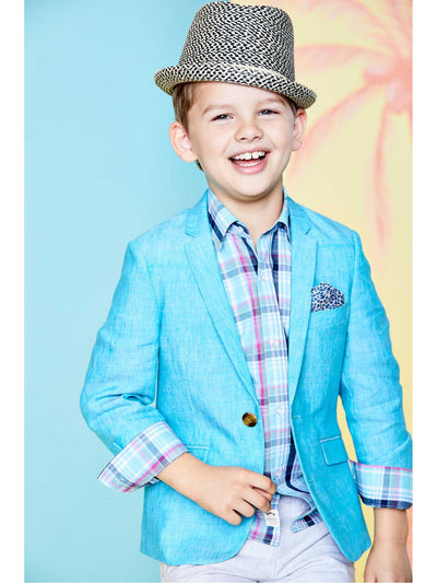 Boys Teal Linen/Cotton Blazer