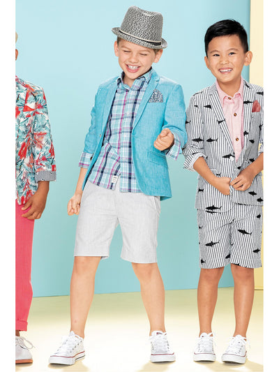 Boys Teal Linen/Cotton Blazer  scblu alt1