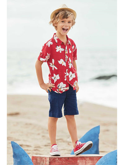 Boys Tropical Floral Shirt  red alt1