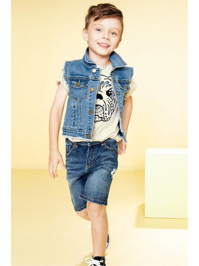 Boys Vintage Denim Cutoff Shorts  blu alt1