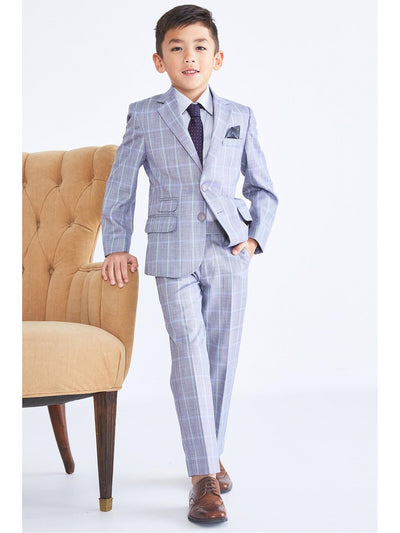 Boys Windowpane Plaid Suit  aqsmk alt1