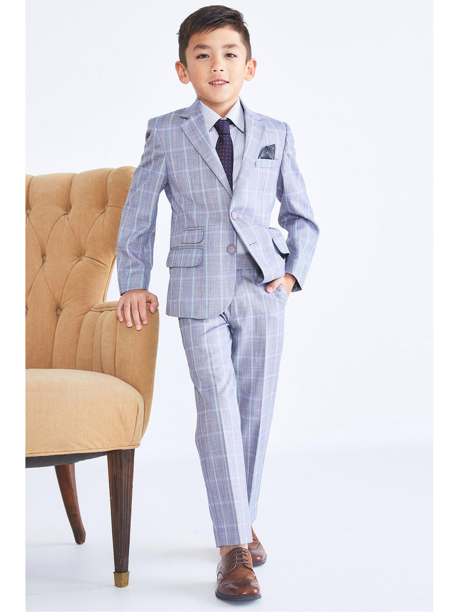 Boys Windowpane Plaid Suit