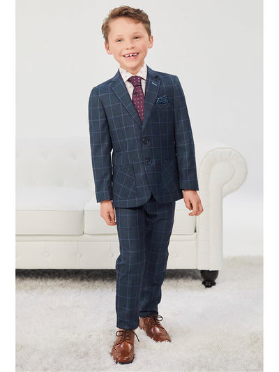 Boys Windowpane Plaid Suit  navy alt1
