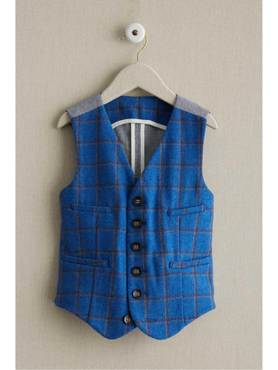 Boys Windowpane Plaid Vest