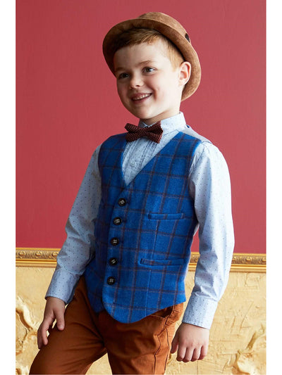 Boys Windowpane Plaid Vest  blu alt1