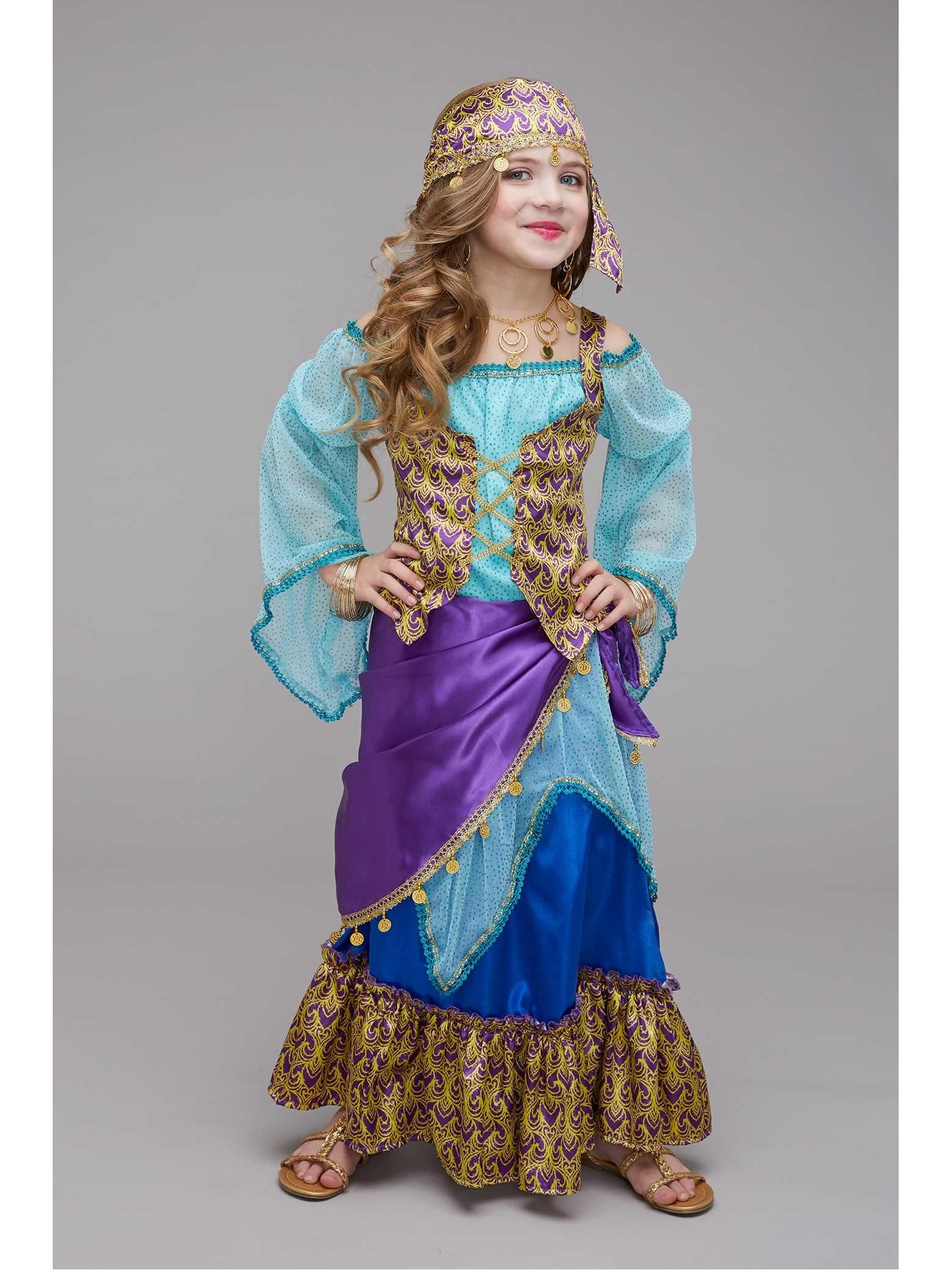 NEW Girls GYPSY Fancy Costume Fortune Teller Dress Up Childs Cosplay Dancer Kids