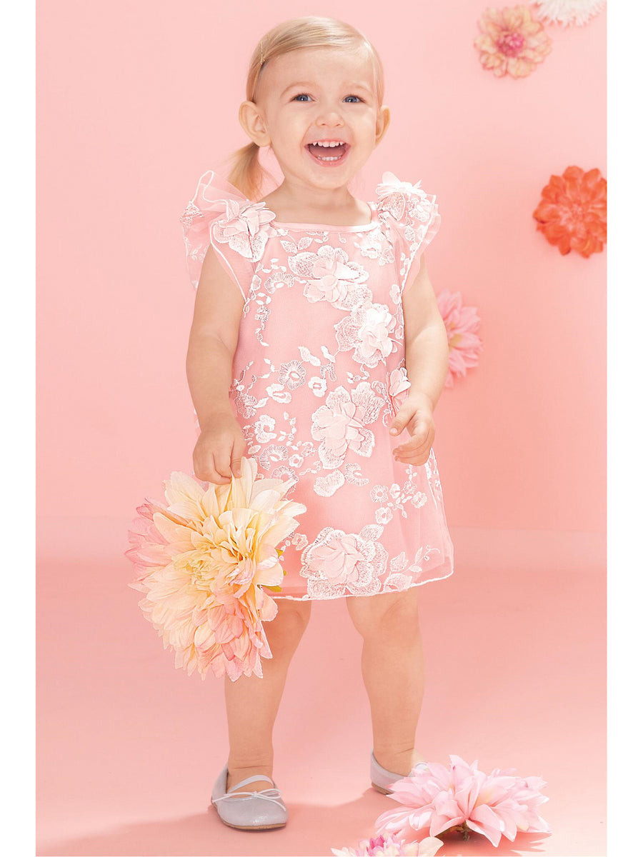 Flutter Sleeve Pink Posies Dress for Baby