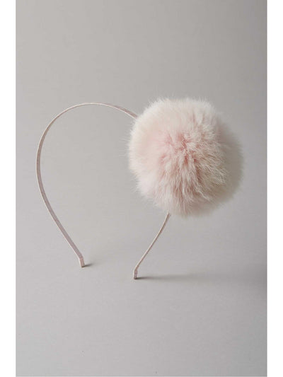 Girls Faux-Fur Pompom Headband  pin 1