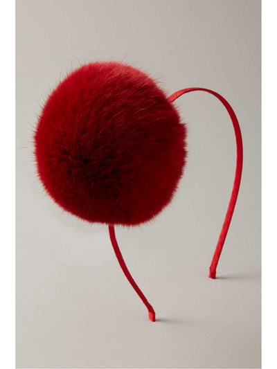 Girls Faux-Fur Pompom Headband  red 1