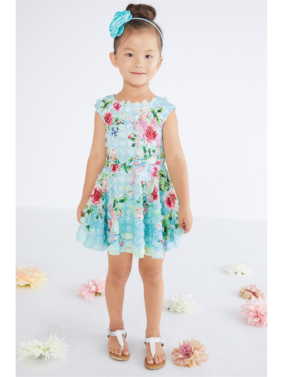 Girls 3D Floral Skater Dress