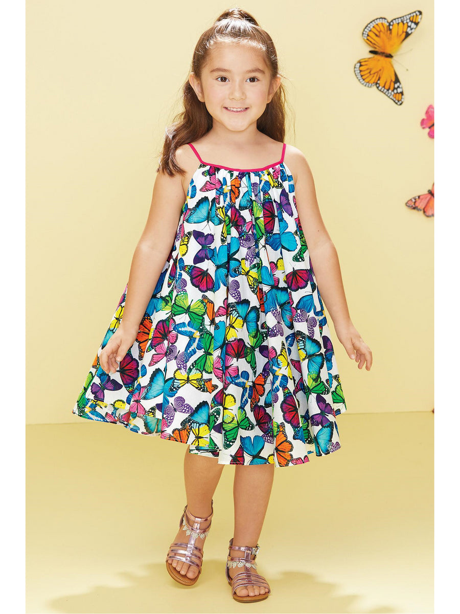 Girls Allover Butterflies Circle Dress