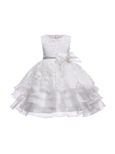 Girls Allover Lace Dress  white alt1