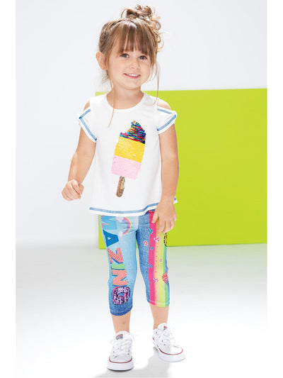 Girls Amazing Rainbow Capri Leggings  rnbw alt1