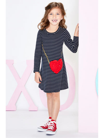 Girls Amour Stripe Tunic Dress with Heart Pocket
