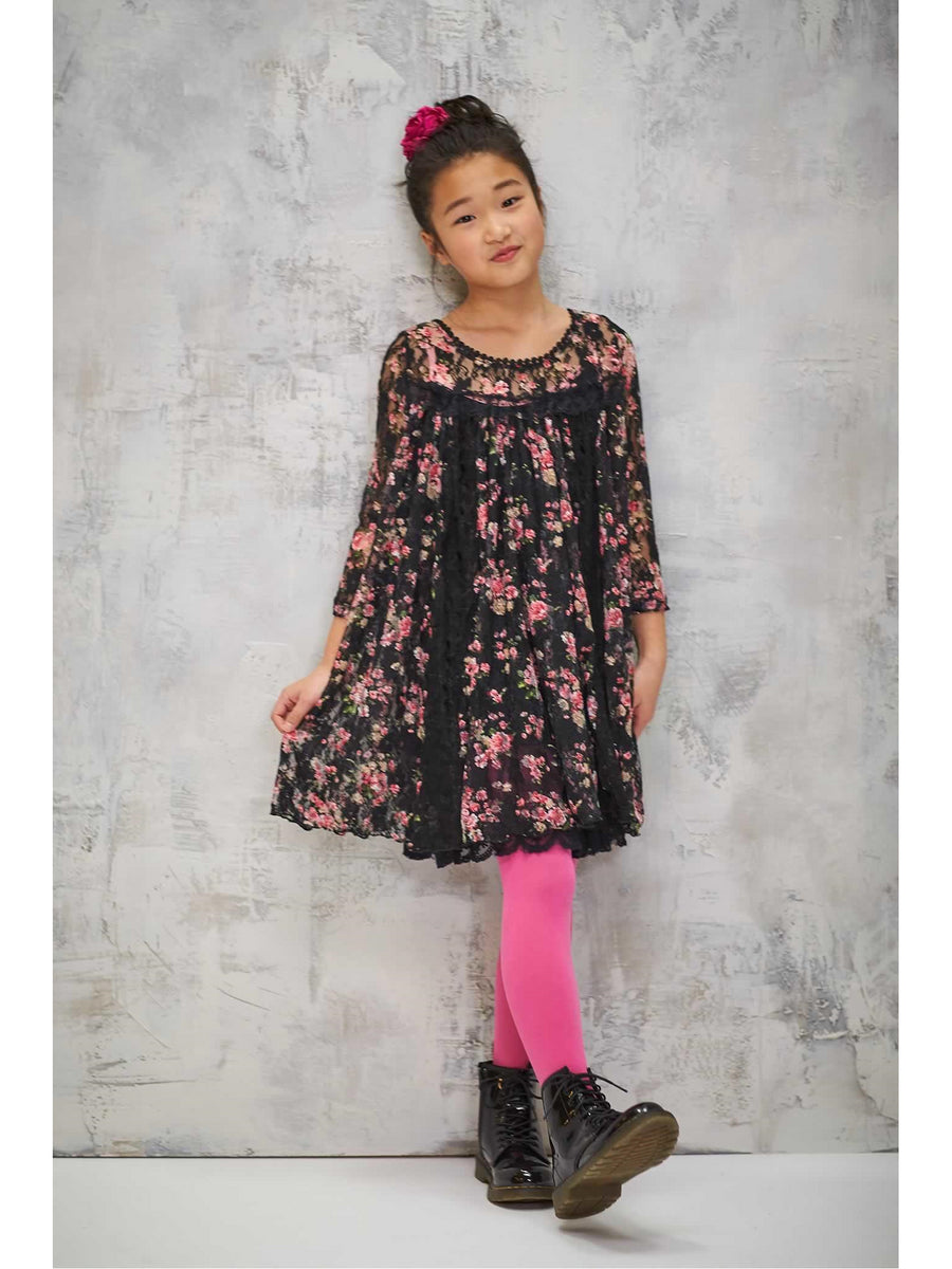 Girls Antique Floral Lace Dress