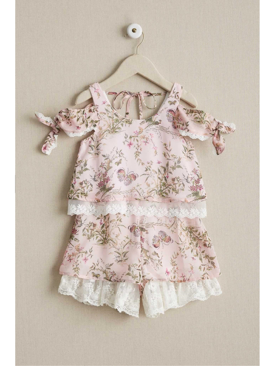Girls Antique Rose Romper