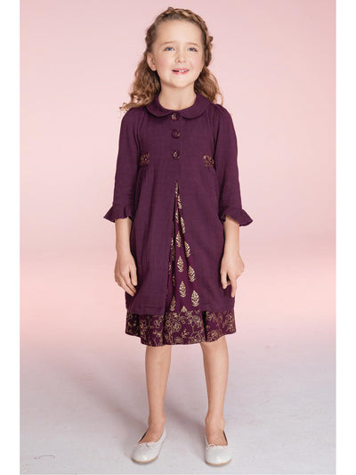 Girls April Cornell® Hannah Jacket  plum alt2