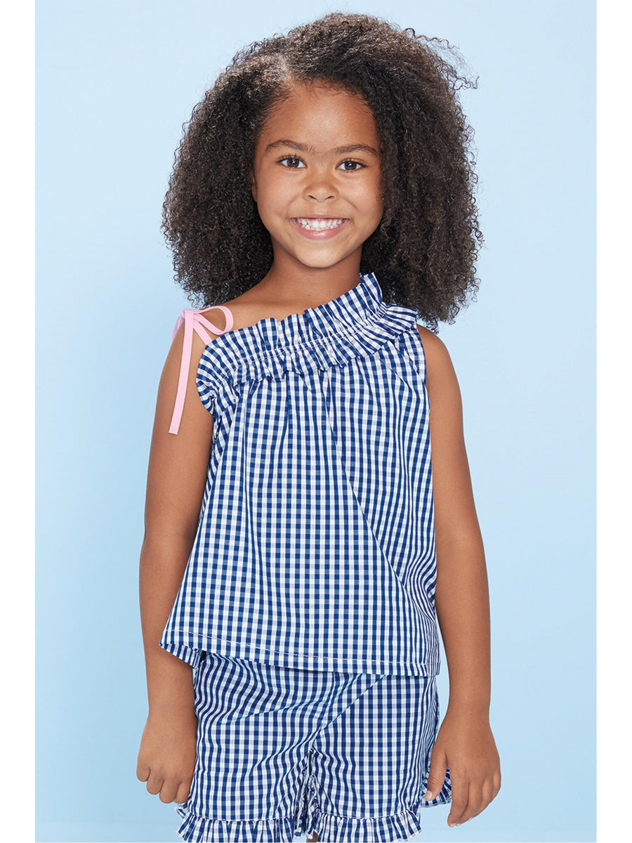 Girls Asymmetrical Ruffle Gingham Top