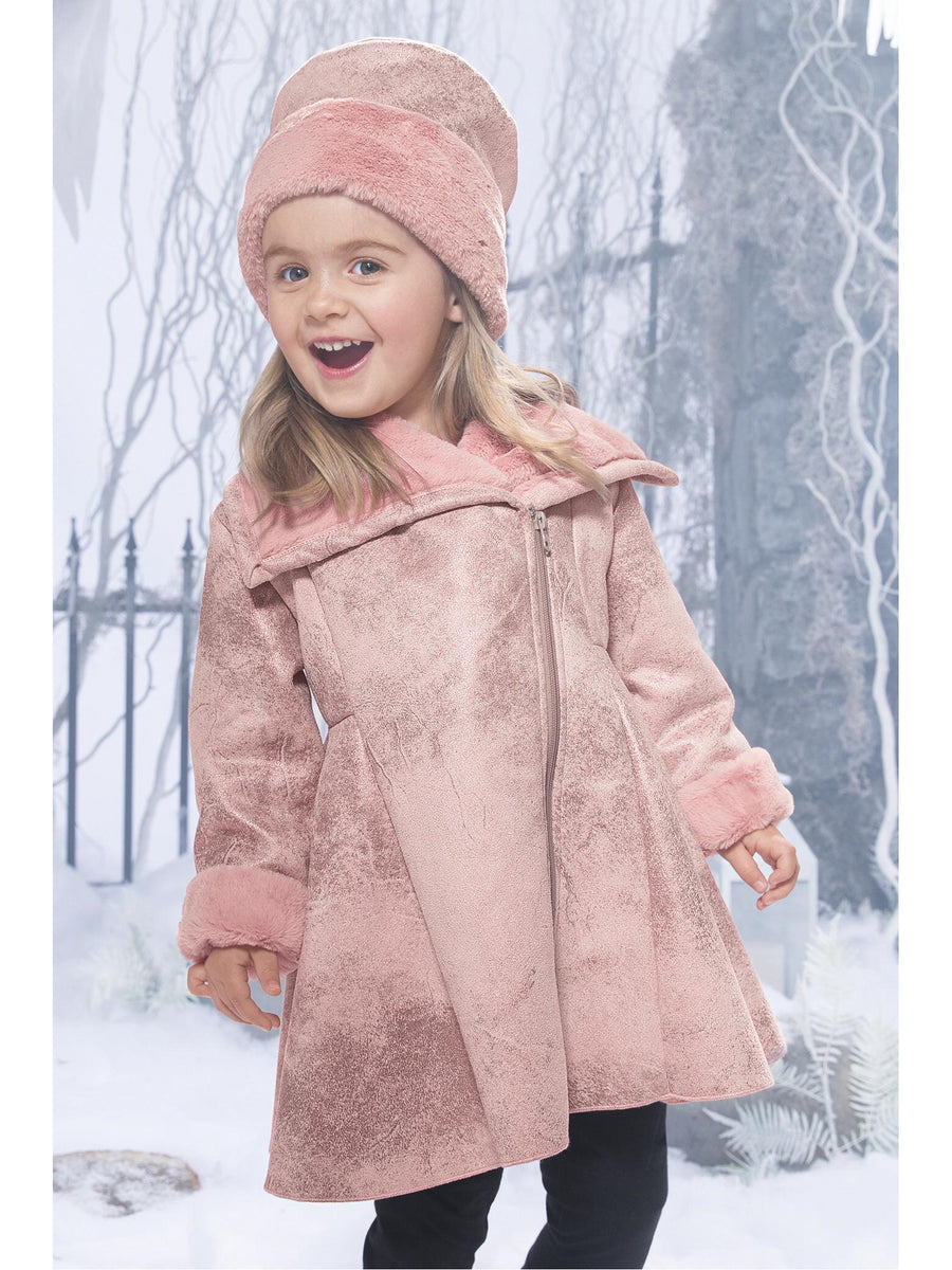 Girls Asymmetrical Swing Coat & Hat Set