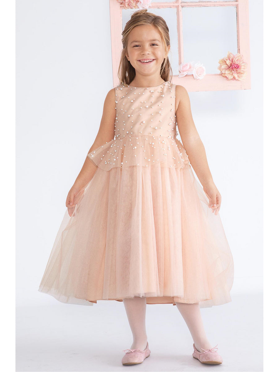 Girls Badgley Mischka Pearls & Tulle Dress