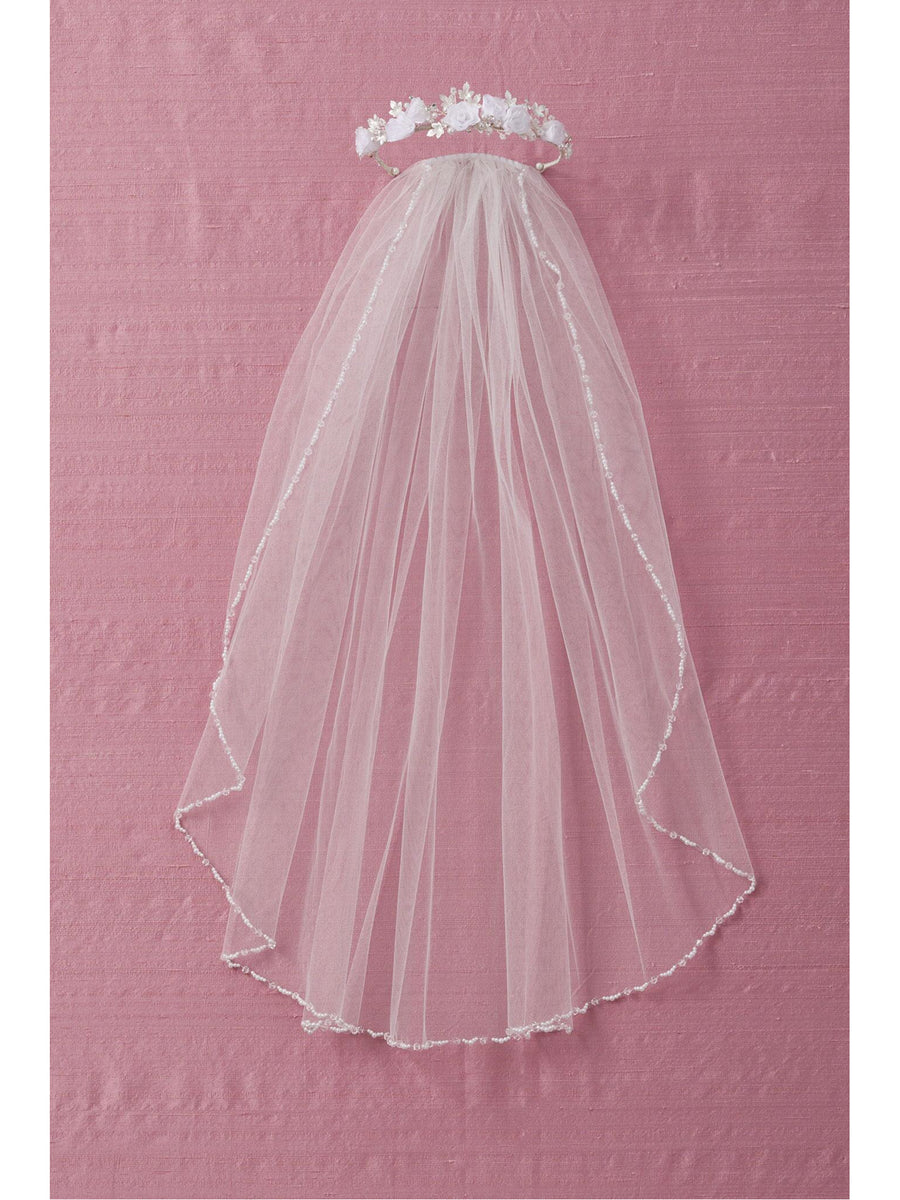 Girls Bead & Pearl Trim Veil
