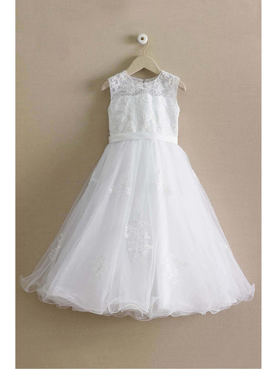 Girls Beaded Lace Dress  whi alt2