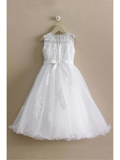 Girls Beaded Lace Dress  whi alt3