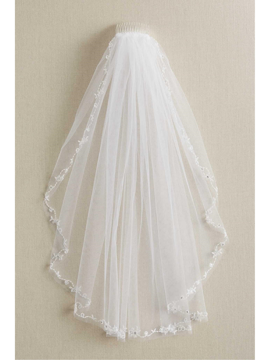 Girls Beaded Trim Veil