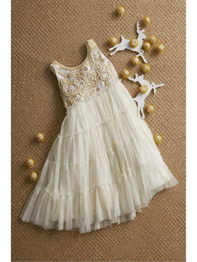 Girls Beaded Tulle Dress  ivo alt1