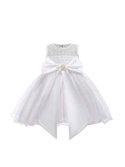 Girls Big Bow Dress  white alt1