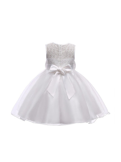 Girls Big Bow Dress  white alt2